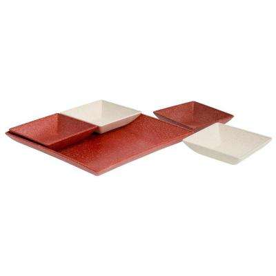 EVO Sustainable Goods Red Eco-Friendly Wood-Plastic Composite Serving & Snack Set (Set of 5)