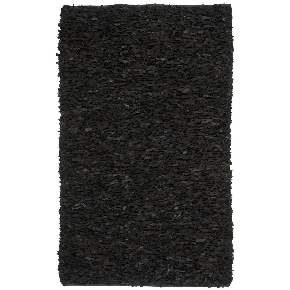 Safavieh Leather Shag Black 3 ft. x 5 ft. Area Rug