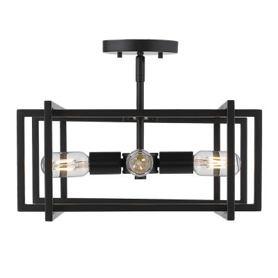 Tribeca 15.5 in. 4-Light Black with Black Accents Semi-Flush Mount