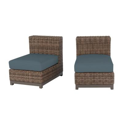 Fernlake Taupe Wicker Armless Middle Outdoor Patio Sectional Chair with Sunbrella Denim Blue Cushions (2-Pack)