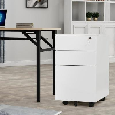 White Mobile 3-Drawers File Cabinet Fully Assembled Except Wheels