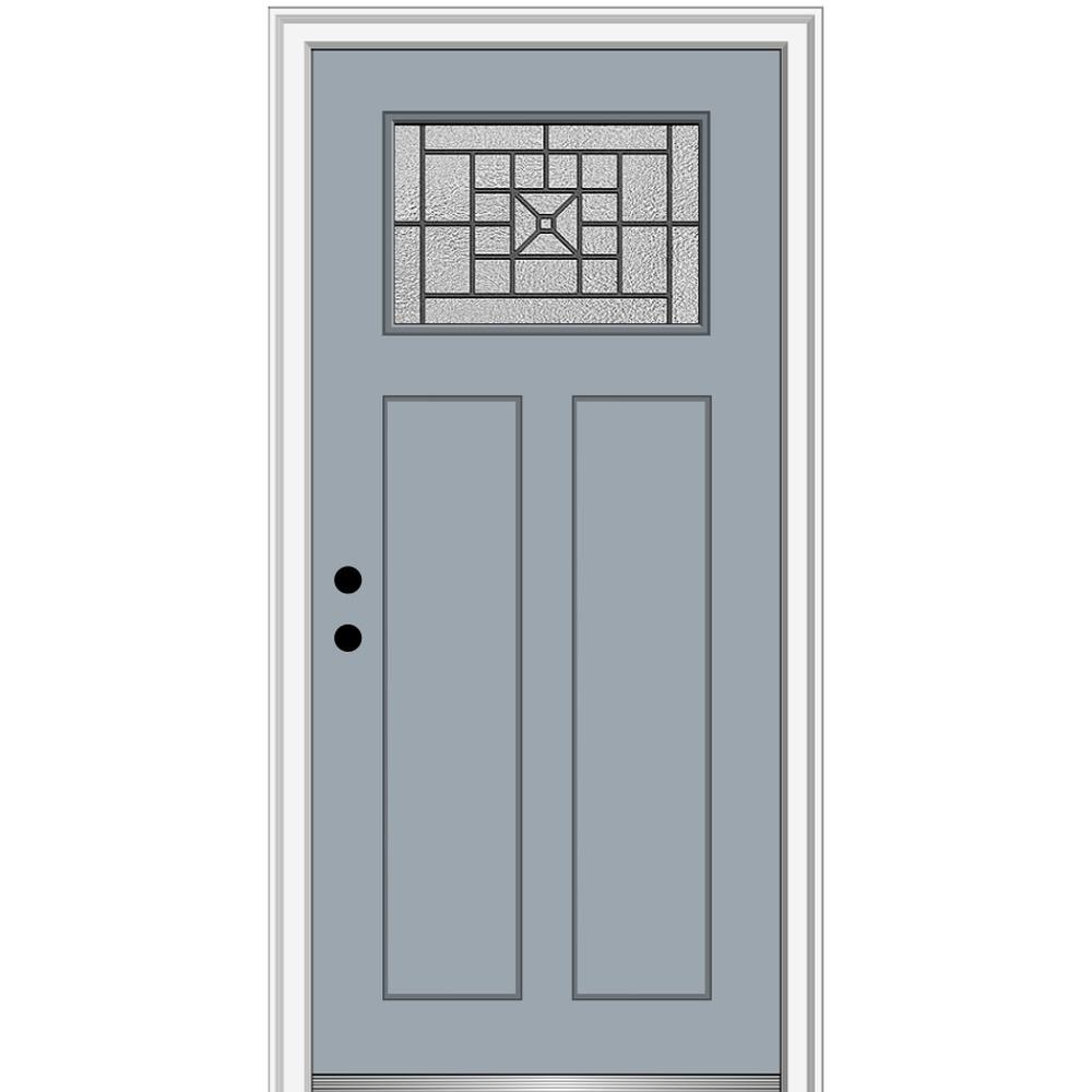 MMI Door 36 in. x 80 in. Courtyard Right-Hand 1-Lite Decorative Craftsman 2-Panel Painted Fiberglass Smooth Prehung Front Door