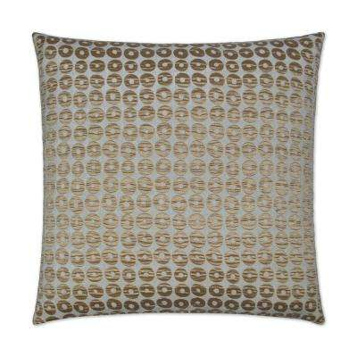 Mirabelle Gold Feather Down 24 in. x 24 in. Standard Decorative Throw Pillow