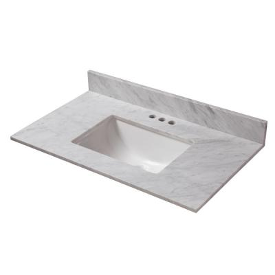 31 in. W x 19 in. D Marble Vanity Top in Carrara with White Trough Basin