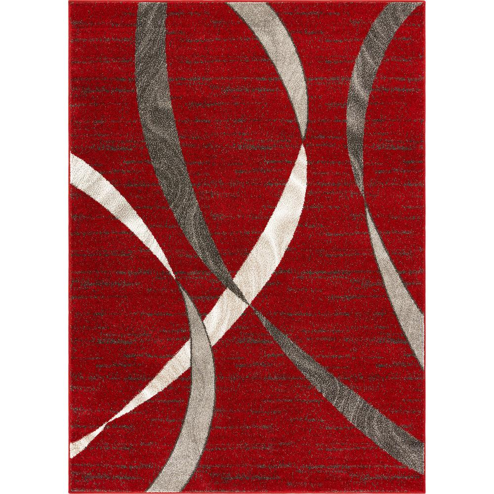 Well Woven Serenity Felicita Red Modern Abstract Scrolls 7 Ft 10 In X 9