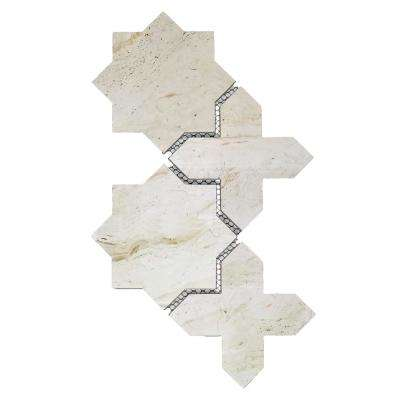 Nature Celestial Crema Marfil 9 in. x 15 in. x 6.35 mm Glass Mosaic Tile