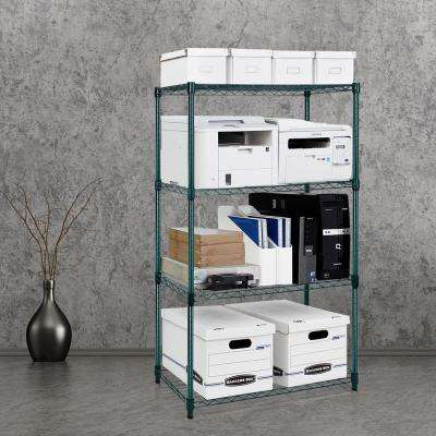 Wayar 54 in. H x 36 in. H x 14 in. D 4-Tier Heavy Duty Wire Shelving Dark Green