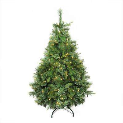 4.5 ft. x 37 in. Pre-Lit Cashmere Mixed Pine Artificial Christmas Tree Clear LED Lights