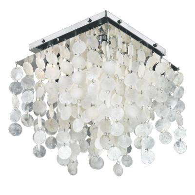 Cityscape 4-Light Chrome Capiz Shell and Crystal Flushmount