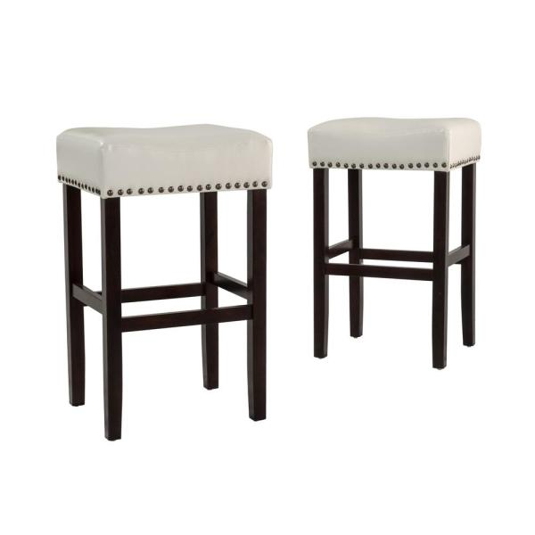 aa153e5ff2a1 Noble House Lisette 30 in. Ivory Backless Leather Bar Stool (Set of ...