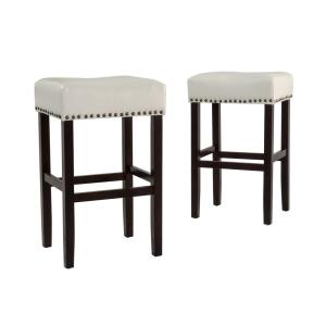 Incredible Noble House Lisette 30 In Ivory Backless Leather Bar Stool Machost Co Dining Chair Design Ideas Machostcouk