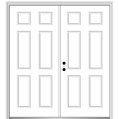 72 in. x 80 in. Right-Hand Inswing Classic 6-Panel Primed Steel Prehung Front Door with Brickmould
