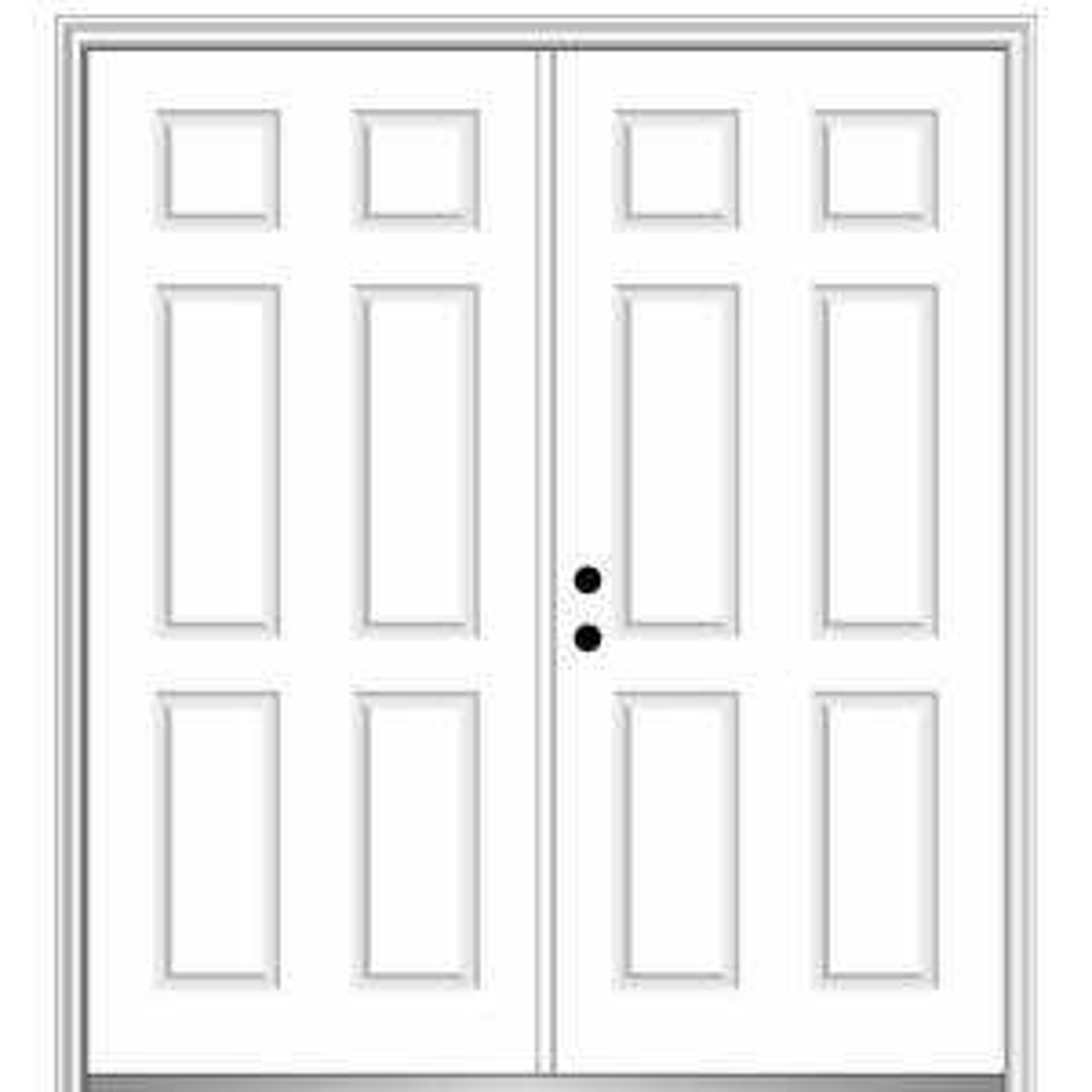 Mmi Door 72 In X 80 In Right Hand Inswing Classic 6 Panel Primed Steel Prehung Front Door With Brickmould Z029360r The Home Depot