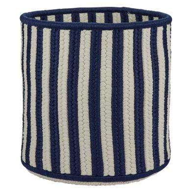 Navy 12 in. D x 12 in. W x 10 in. H Vertical Stripe Round Basket