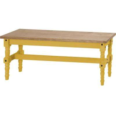Jay 47.25 in. Yellow Wash Solid Wood Dining Bench