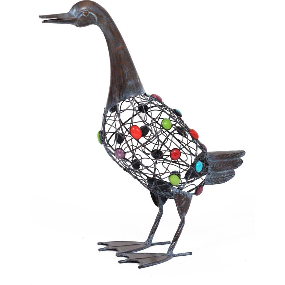 La Hacienda 18.1 in. H x 16.9 in. W x 7 in. D Brown Beaded Standing Duck