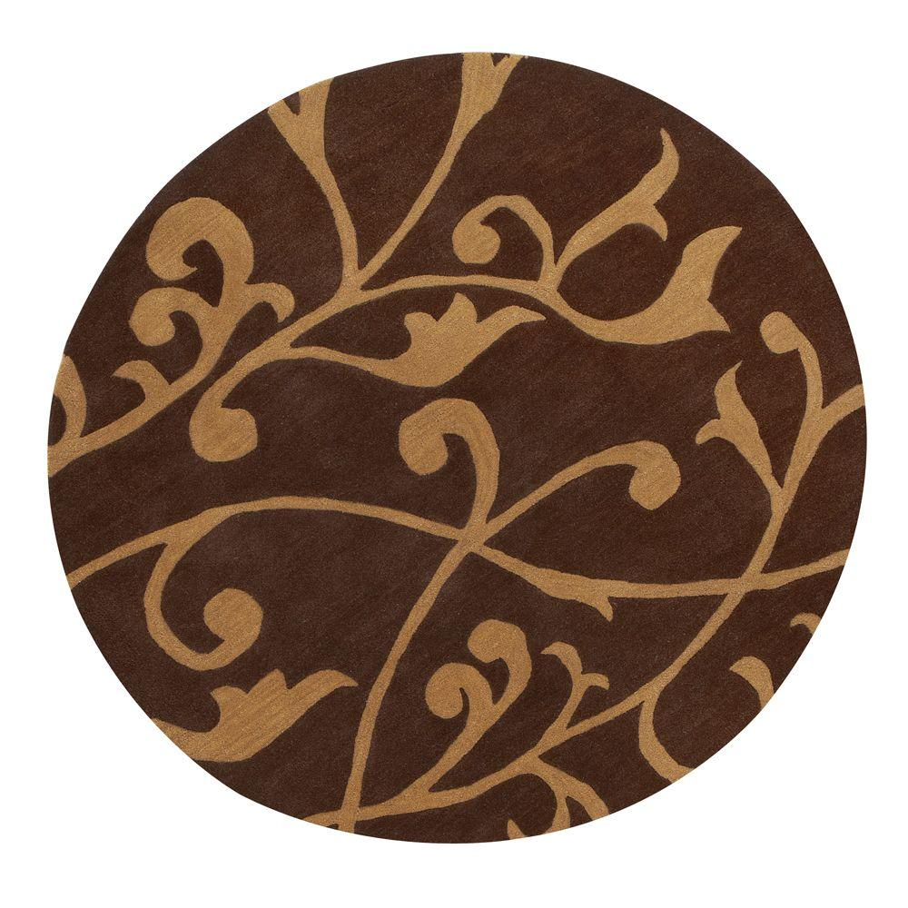 Home Decorators Collection Perpetual Brown 5 Ft 9 In Round Area Rug 4391035820 The Home Depot