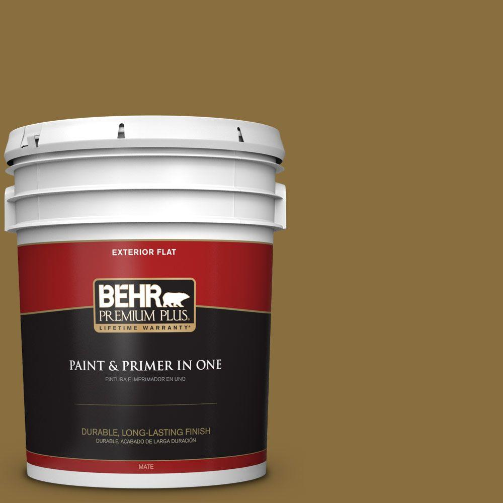 BEHR Premium Plus 5-gal. #S310-7 Siam Gold Flat Exterior Paint