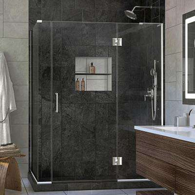 Unidoor-X 60 in. x 30-3/8 in. x 72 in. Frameless Hinged Shower Enclosure in Chrome