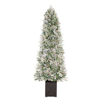 6.5 ft Starry Light Frasier Fir Potted Flocked LED Pre-Lit Artificial Christmas Tree with 150 Warm White Lights