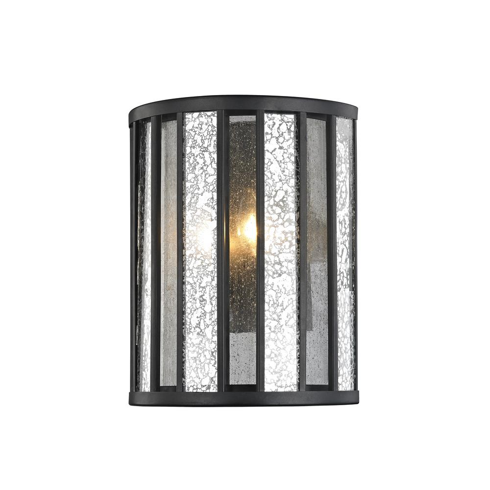 Edith 2-Light Bronze Sconce with Silver Mercury and Clear Seedy Glass