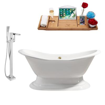 Tub, Faucet and Tray Set 61 in. Cast Iron Flatbottom Non-Whirlpool Bathtub in Glossy White