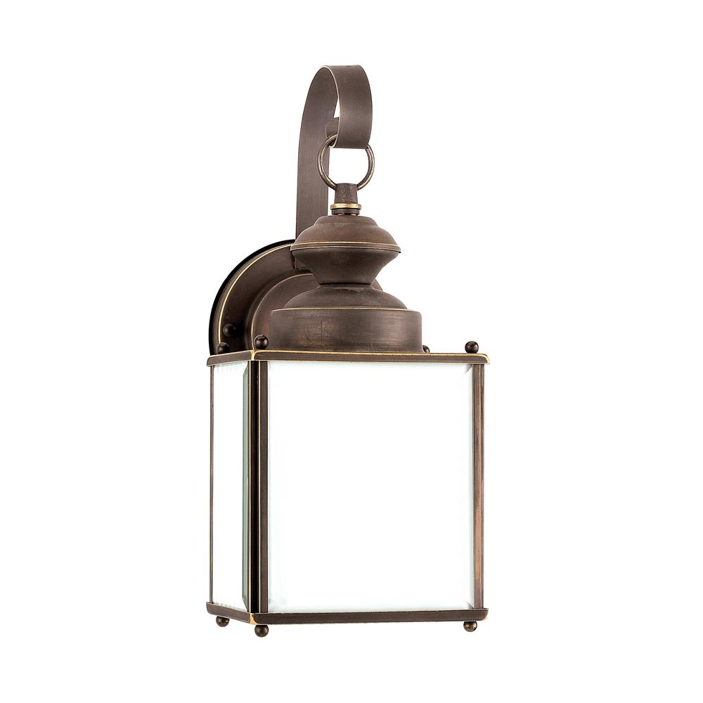 Jamestowne 1-Light Antique Bronze Outdoor Wall Mount Lantern with LED Bulb