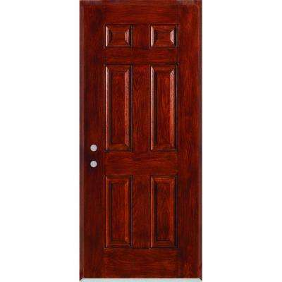 36 in. x 80 in. Right-Hand Infinity 6-Panel Stained Fiberglass Woodgrain Prehung Front Door with Brickmould