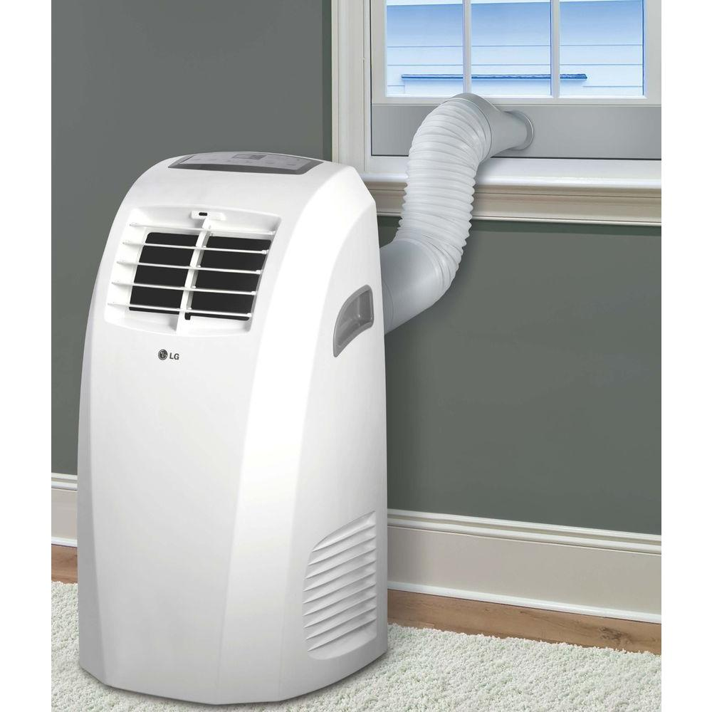 Lg Electronics 10 000 Btu 6 500 Btu Doe 115 Volt Portable Ac W Dehumidifier Function And Lcd Remote In White
