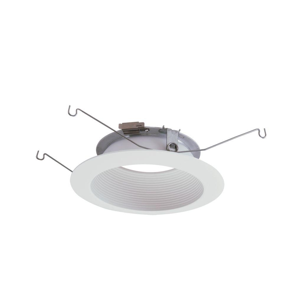 Halo ml 5 in matte white led recessed ceiling light baffle flange matte white led recessed ceiling light baffle flange attachable module trim 593wb the home depot mozeypictures Choice Image