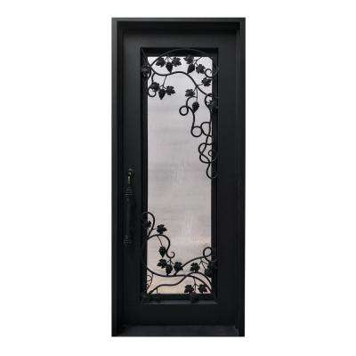 40 in. x 96 in. Matte Black Right-Hand Inswing 1 Lite Clear Double-Glazed Iron Prehung Front Door