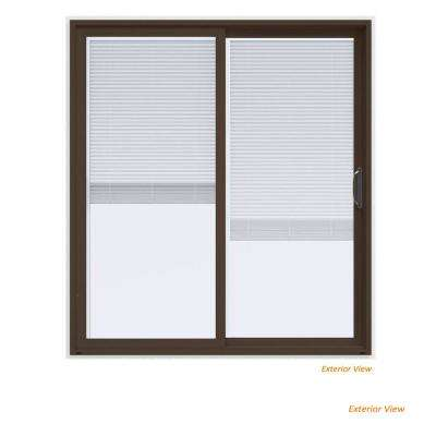 72 in. x 80 in. V-4500 Contemporary Brown Paint Vinyl Right-Hand Full Lite Sliding Patio Door w/White Interior & Blinds