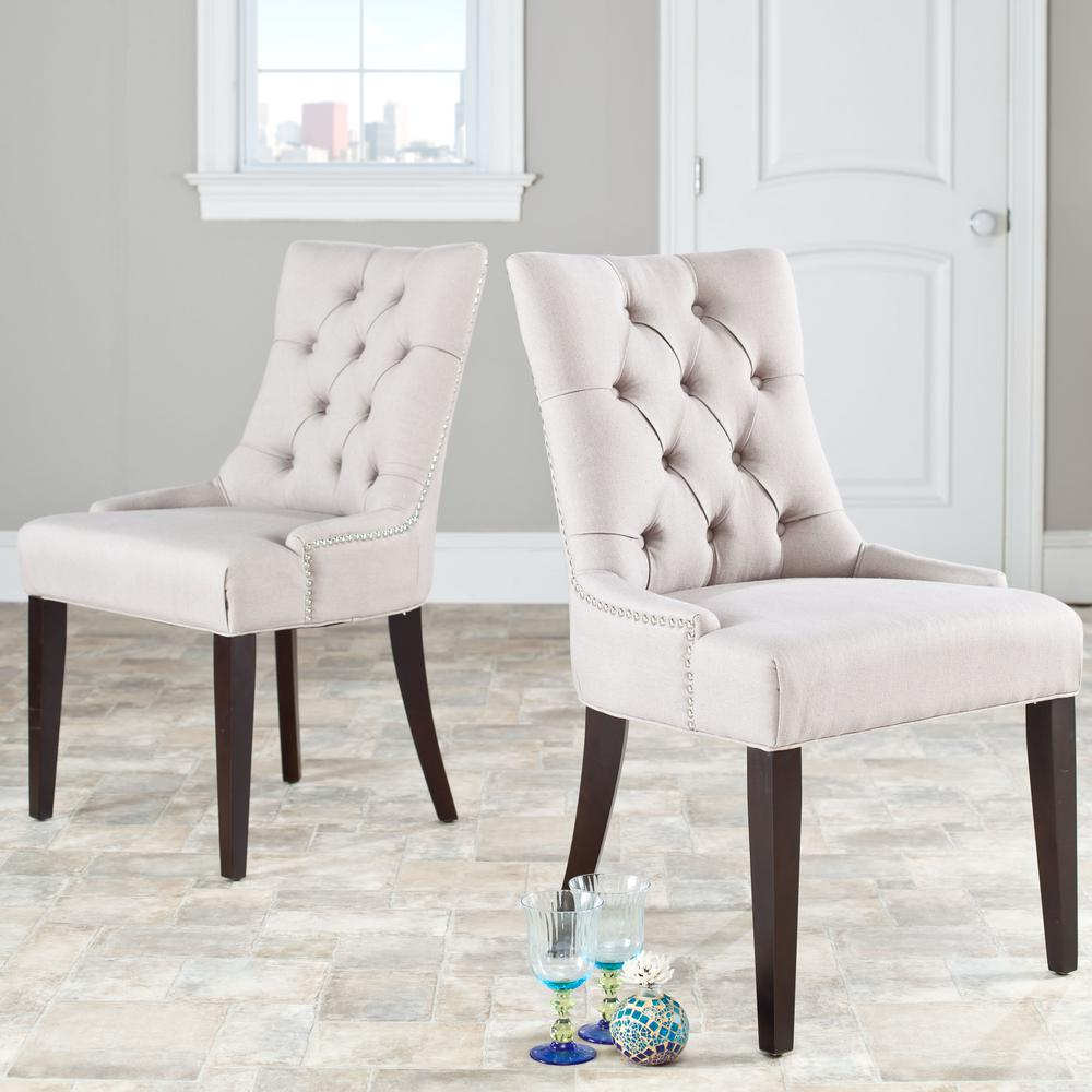 SAFAVIEH Safavieh Abby Taupe/Espresso Linen Side Chair (Set of 2)