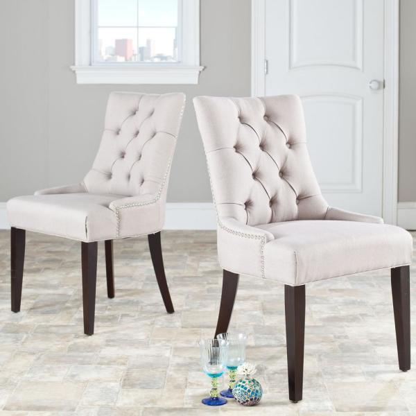 Safavieh Abby Taupe/Espresso Linen Side Chair (Set of 2) MCR4701A-SET2