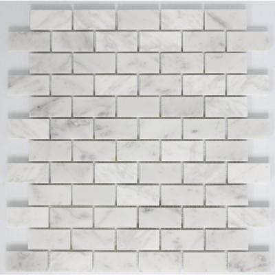 12 in. x 12 in. x 10 mm Tile Esque Carrara White Marble in Offset Pattern Mesh-Mounted Mosaic Tile
