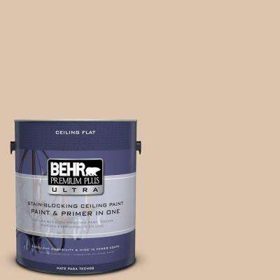 1 gal. #PPU3-08 Ceiling Tinted to Sienna Dust Flat Interior Paint and Primer in One