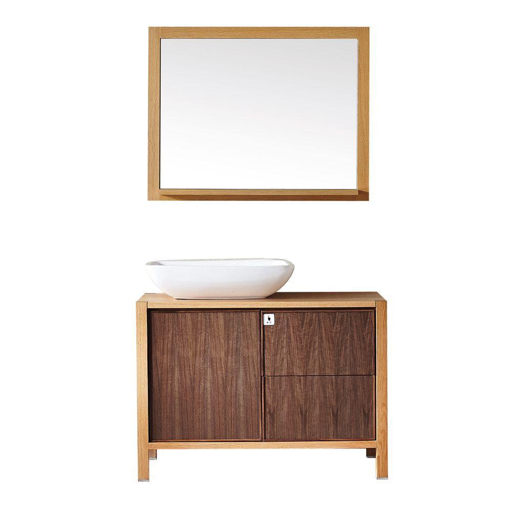 Monza 40 in. W x 20 in. D x 28 in. H Vanity in Red Oak with Wood Vanity Top in Red Oak with White Basin and Mirror