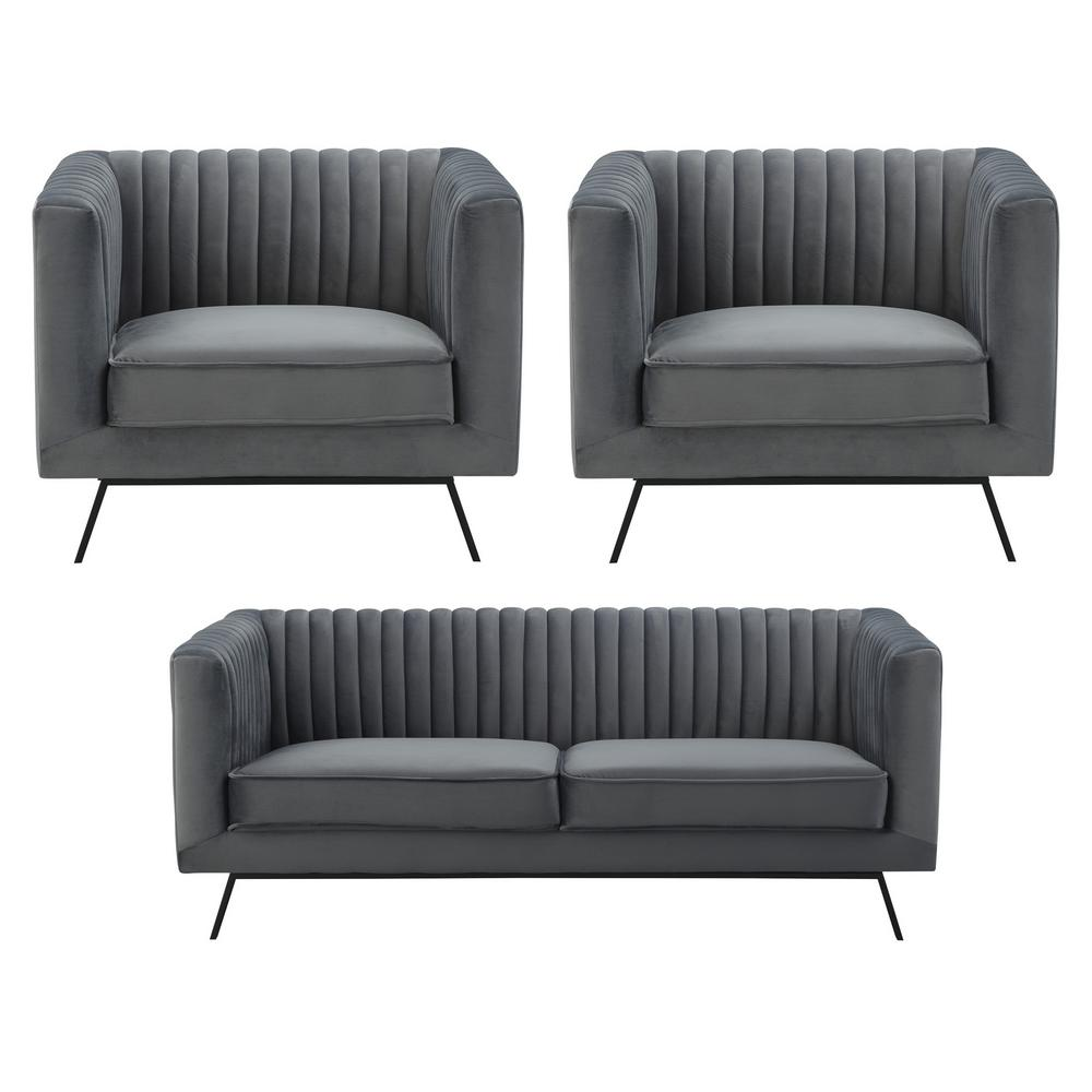 Manhattan Comfort Vandam 3 Piece Charcoal Grey Velvet 2 Seat Loveseat And 2  Armchairs