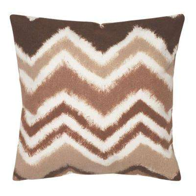 ZigZag Ikat Chocolate Square Outdoor Throw Pillow