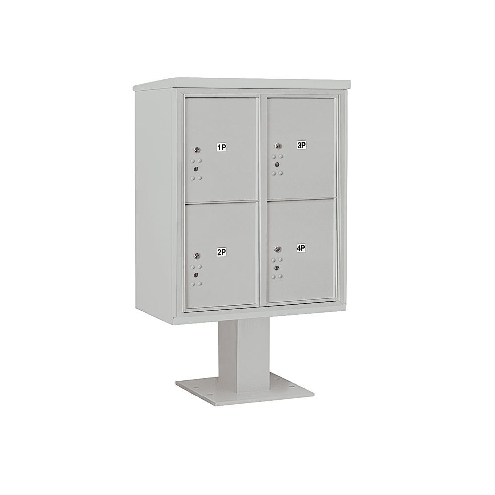 3400 Horizontal Series 4-Parcel Locker Pedestal Mount Mailbox