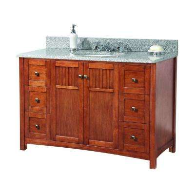 Knoxville 49 in. W x 22 in. D Vanity in Nutmeg with Granite Vanity Top in Rushmore Grey with White Basin