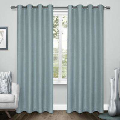 Tweed 52 in. W x 96 in. L Woven Blackout Grommet Top Curtain Panel in Turquoise (2 Panels)