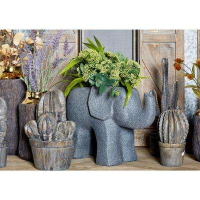 14 in. x 8 in. Distressed Black Fiber Clay Elephant Planter