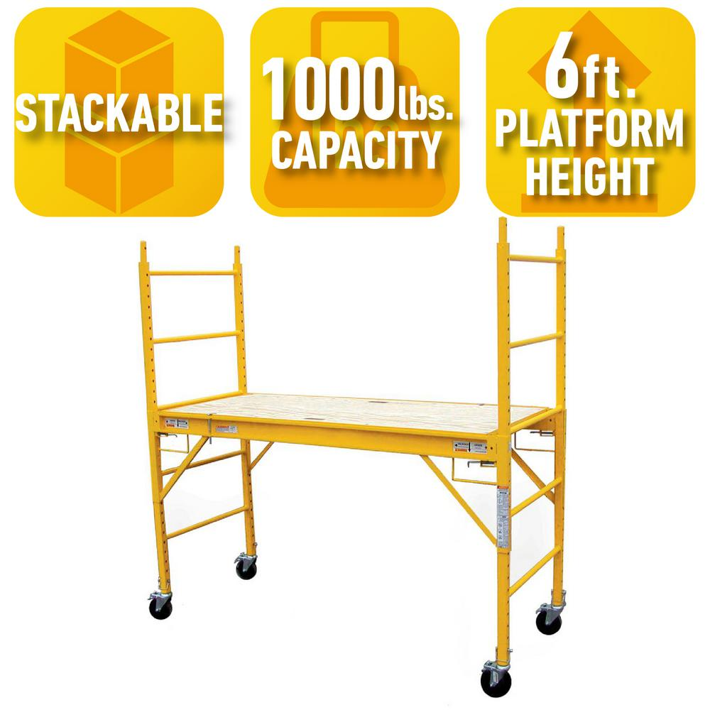 PRO-SERIES 6 ft. x 6 ft. x 2.4 ft. Multi-Use Drywall Baker Scaffolding with 1000 lb. Capacity