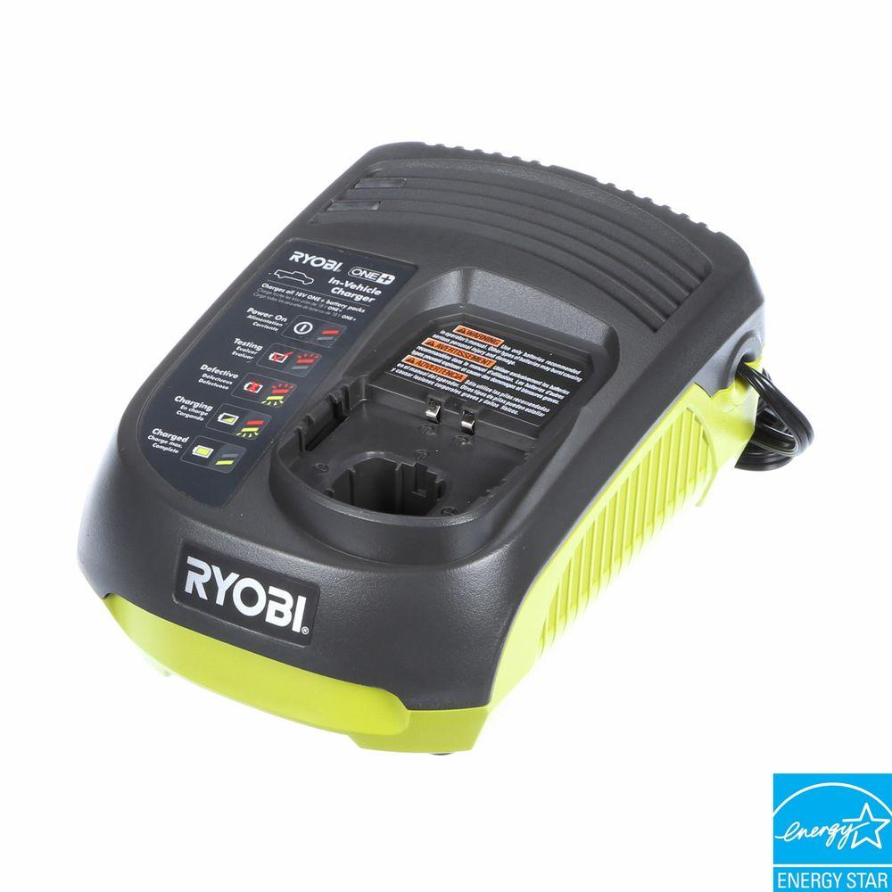 Ryobi 18-Volt ONE+ In-Vehicle Dual Chemistry Charger for use with 12V DC outlet