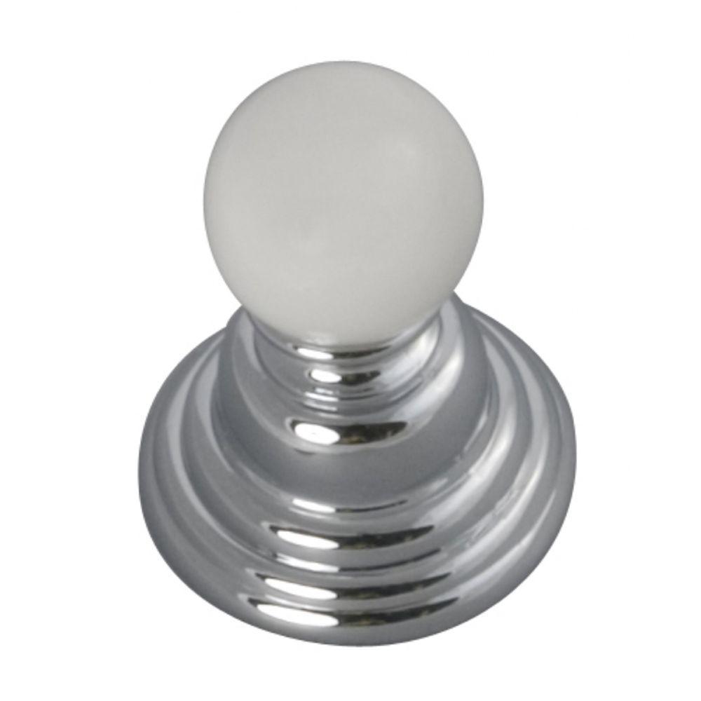 Gaslight 15/16 in. Chrome/White Cabinet Knob