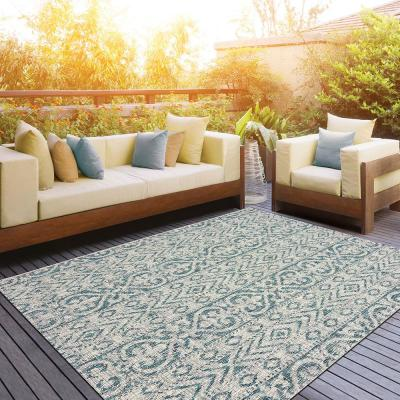 Sun Shower Blue/Green 8 ft. x 10 ft. Indoor/Outdoor Rectangular Area Rug
