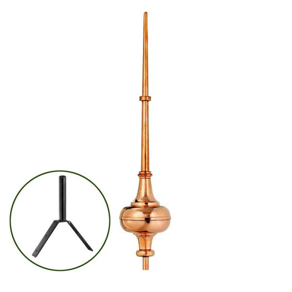 40'' Morgana Pure Copper Rooftop Finial with Roof Mount
