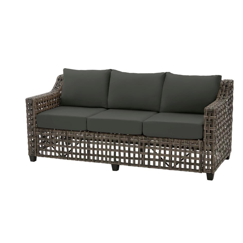 Briar Ridge Brown Wicker Outdoor Patio Sofa with CushionGuard Graphite Dark Gray Cushions