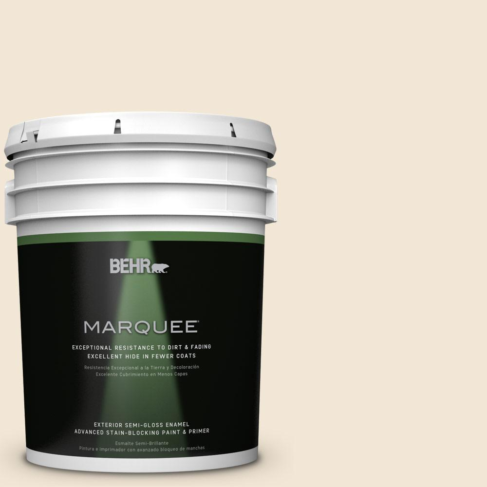 BEHR MARQUEE 5-gal. #W-B-220 Vanilla Delight Semi-Gloss Enamel Exterior Paint